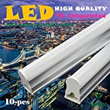 10-Pack of IEKOV™ 18w Integrated T5 LED Tube Light Fixture, Replace of 40W Fluorescent Tube, Plug & Play, CE & RoHS qualified (4ft/1.2m, Day White 6000-6500K, Milky Cover)