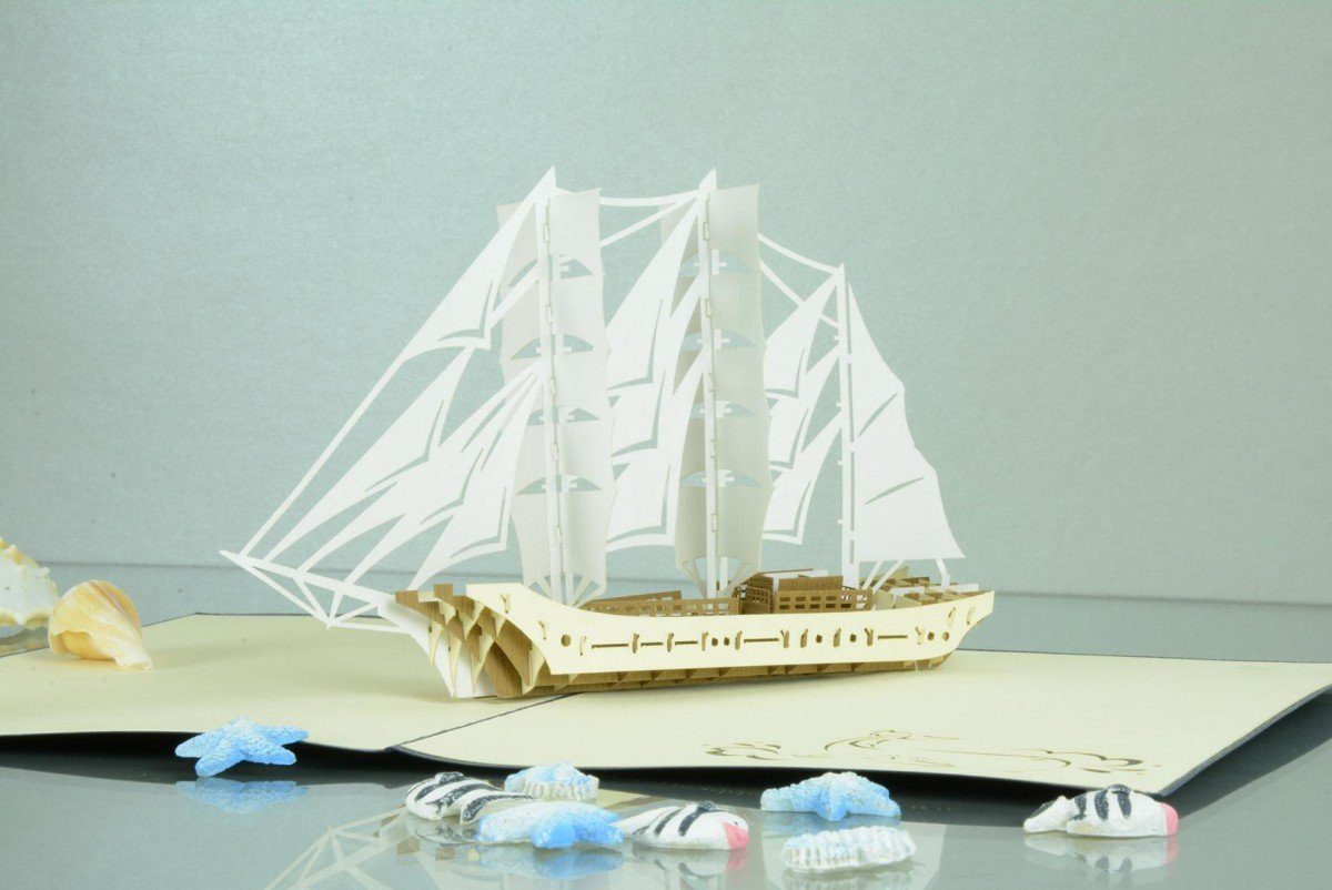 Maritime 3 D Pop Up Grusskarte Gorch Fock Segelschiff Geldgeschenk
