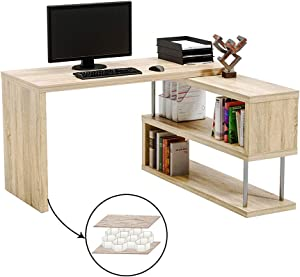 "Bestier Rotating L Shaped Computer Desk, 51"" Large Corner Office Desk with Open 2 Tier Storage Shelves, Lightweight Sturdy Hollow-Core Board Gaming L Desk Workstation for Home Office, Oak"