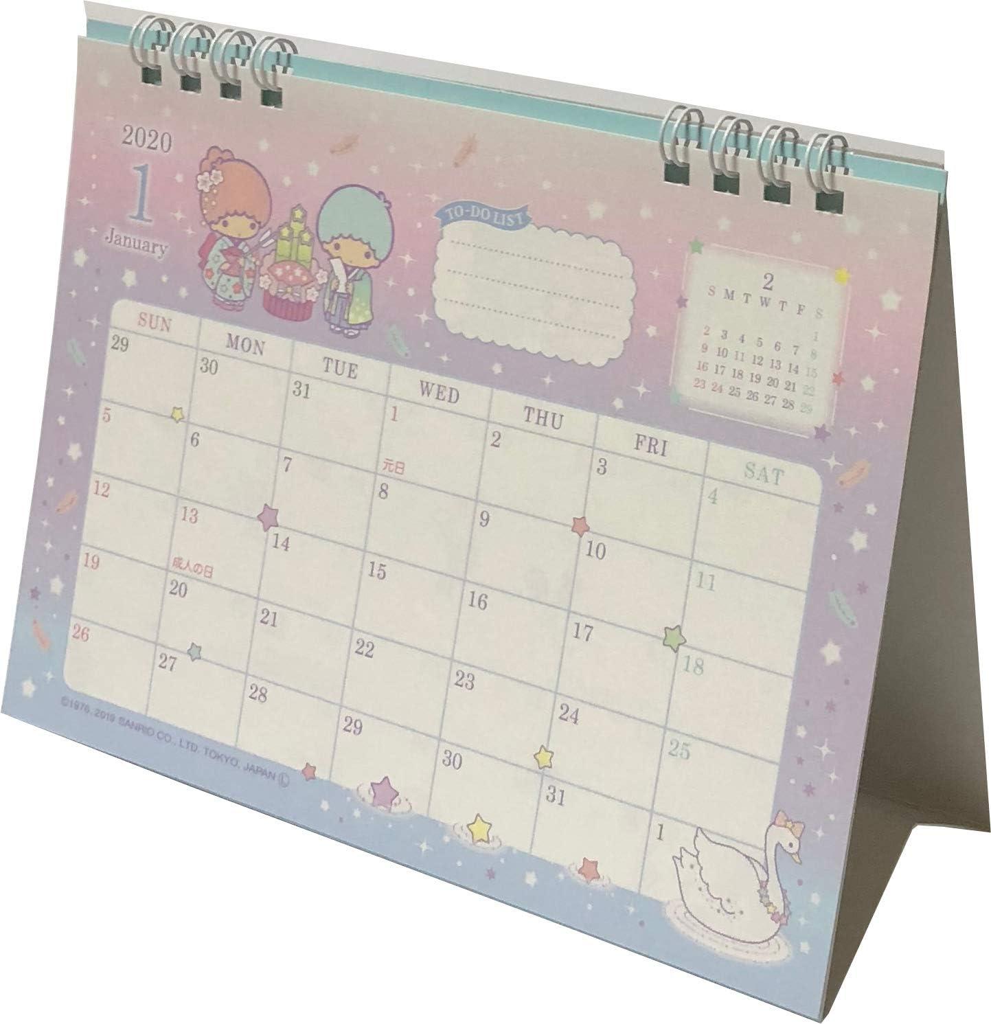 2020 SANRIO Little Twin Stars Desk Ring Calendar Made In JAPAN Kawaii