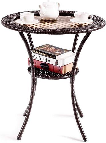 Giantex Round Rattan Wicker Coffee Table Glass Top Steel Frame Patio Furni W/Lower Shelf Round