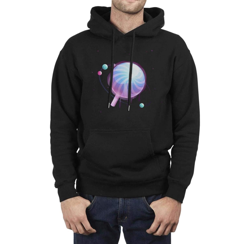 Vartoon Lollipop Planet Black Hoodie Sweatshirt for Men Casual Fleece Warm Pullover