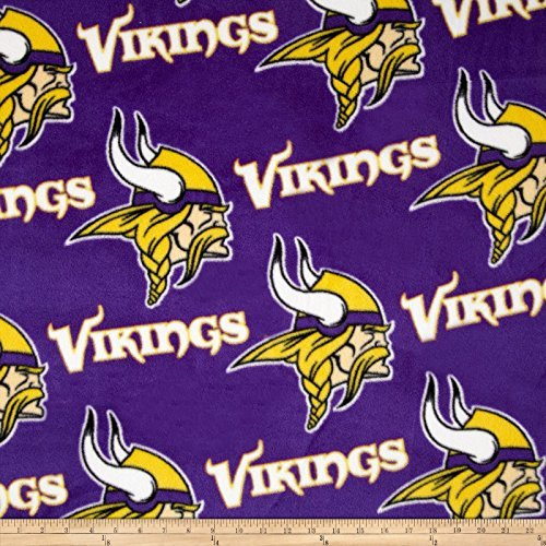 Fabric Traditions 0313547 NFL Fleece Minnesota Vikings All Over Purple Fabric by The Yard,