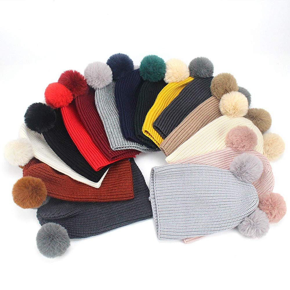 MJ-Young Winter Baby Knit Hat with Two Faux Fur Pompoms Boy Girls Fur Ball Beanie Kids Caps