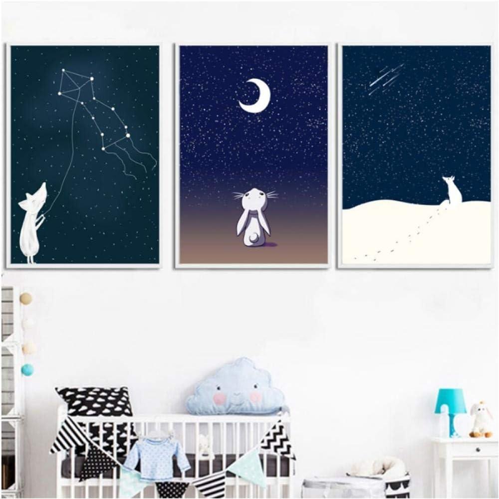 Jwqing Imprime Cuadros Arte de la Pared Pintura de la Lona Constelación Luna para la Sala Decoración del hogar Cartel Moderno de Estilo nórdico (40x60cmx3 Sin Marco)