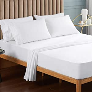 VEEYOO King Size Bed Sheet 6 PCS - White Fitted Sheets Set Deep Pocket, Luxury 1800 Brushed Microfiber Bed Set Extra Soft, Wrinkle, Fade, Stain Resistant, Breathable, Hypoallergenic - 6 PCS, White