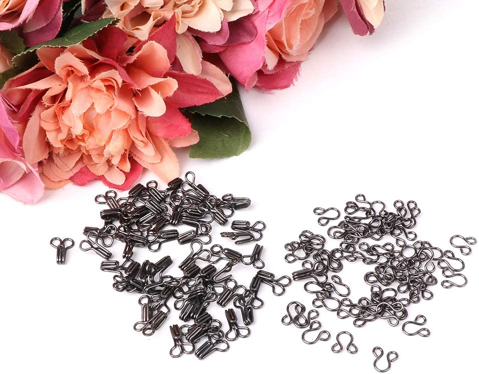 VIccoo Hooks and Eyes Silver 50x Hook and Eye Fasteners for Fur Dress Skirt Collar Bra Sew On DIY Accessory