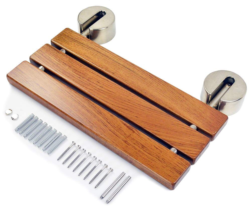 DIYHD 20 Modern Teak Wood Folding Shower Seat Bench Brushed Wall ...
