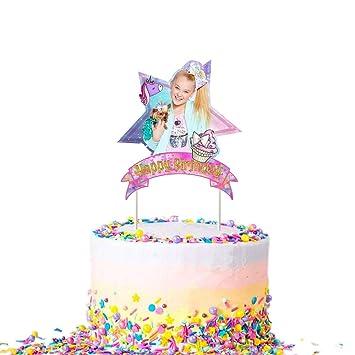 Jojo Unicorn Bow Cake Topper Birthday Party Decoration Toppers - Purple Pink Starry Sky Shape