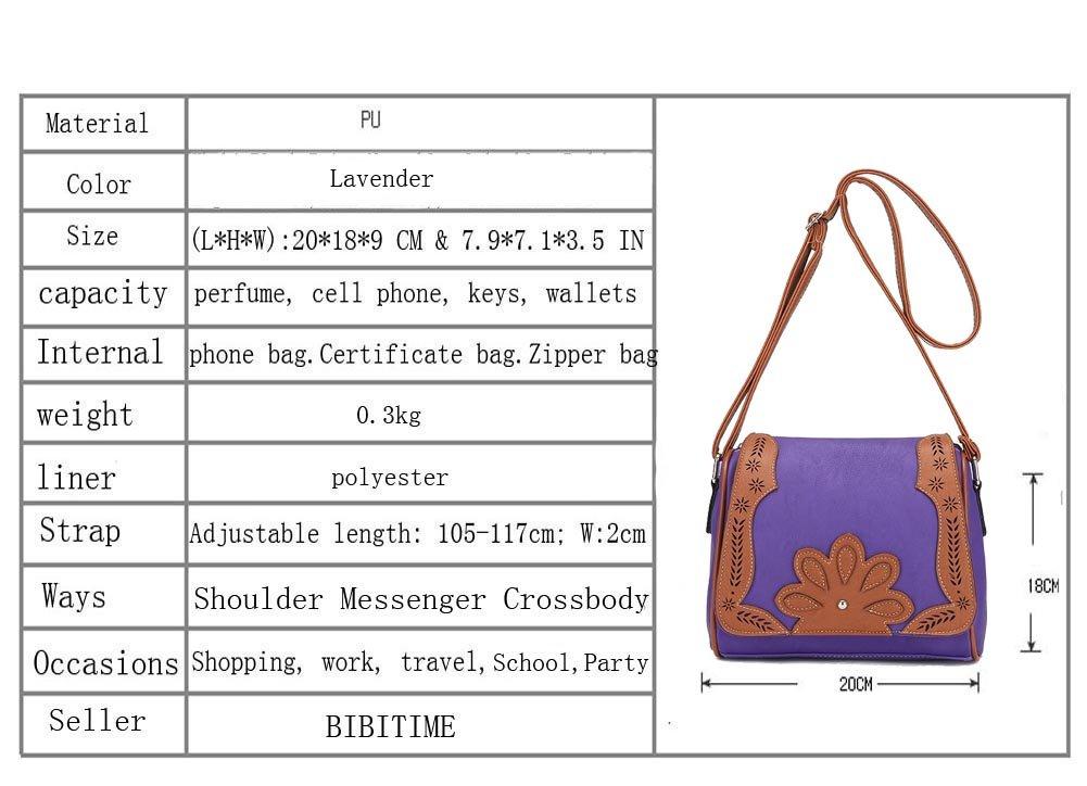 LHW: 7.9 7.1 3.5, Blue BIBITIME Hollow Leaf Crossbody Bag School Vintage Flower Messenger Shoulder Bag Travel Bag for Holiday Back to School University //College Campus Bag Shopping Hobo Bag