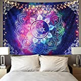 Likiyol Moon and Star Tapestry Psychedelic Tapestry Celestial Galaxy Starry Night Tapestries Hippie Tapestry Boho Mandala Tapestry for Room (Multicolor, 59.1 x 82.7 inches)