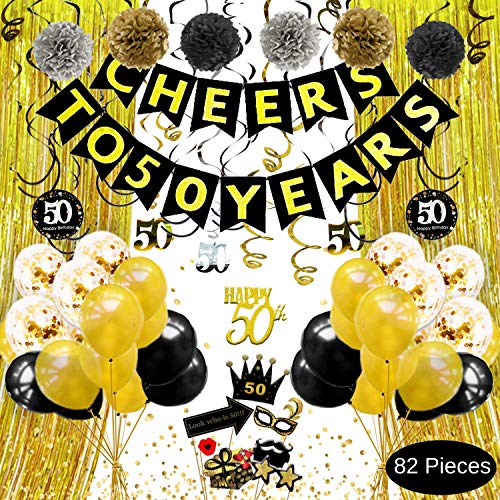 50th Birthday Decorations for Men Women - Cheers to 50 Years Banner, Gold Black Silver Pom Poms, Hanging Swirls, Cake Topper, Photo Props, Backdrop, Balloons, Confetti, 50th Anniversary Decorations