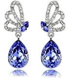 Lily Jewelry Ladies Fashion Butterfly Series Swarovski Elements Crystal Novelty Earrings for Women