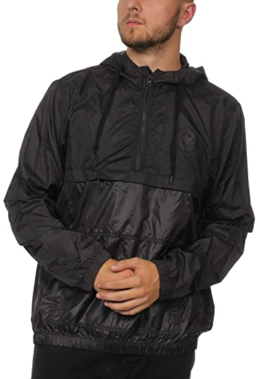 caea73d055d8 Converse Mens Packable Pullover Jacket in Black-Half Zip  Converse   Amazon.co.uk  Clothing