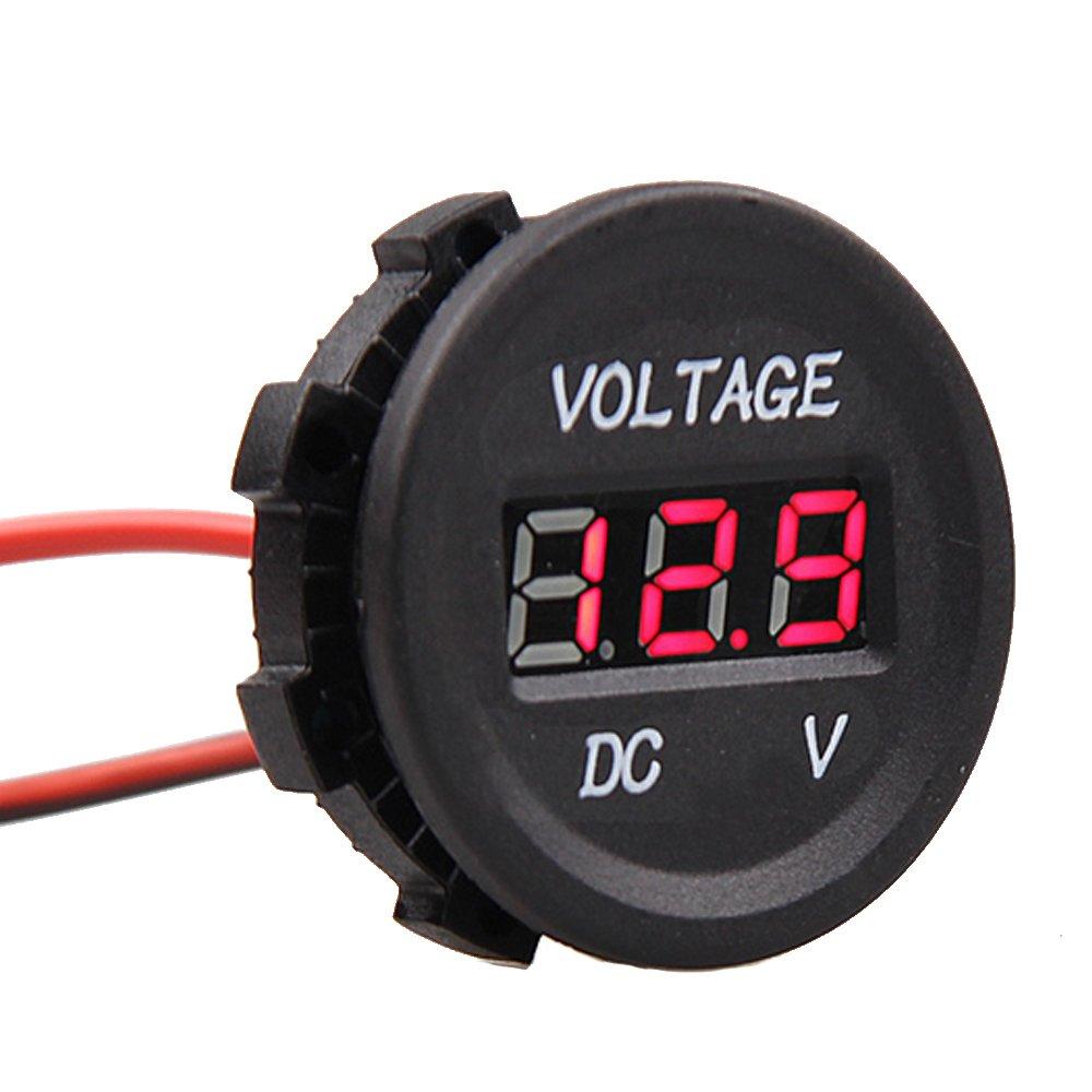 Etopars trade; 12V 24V Waterproof Car Motorcycle Blue LED Light Digital Display Voltmeter Volt Monitor Meter Socket