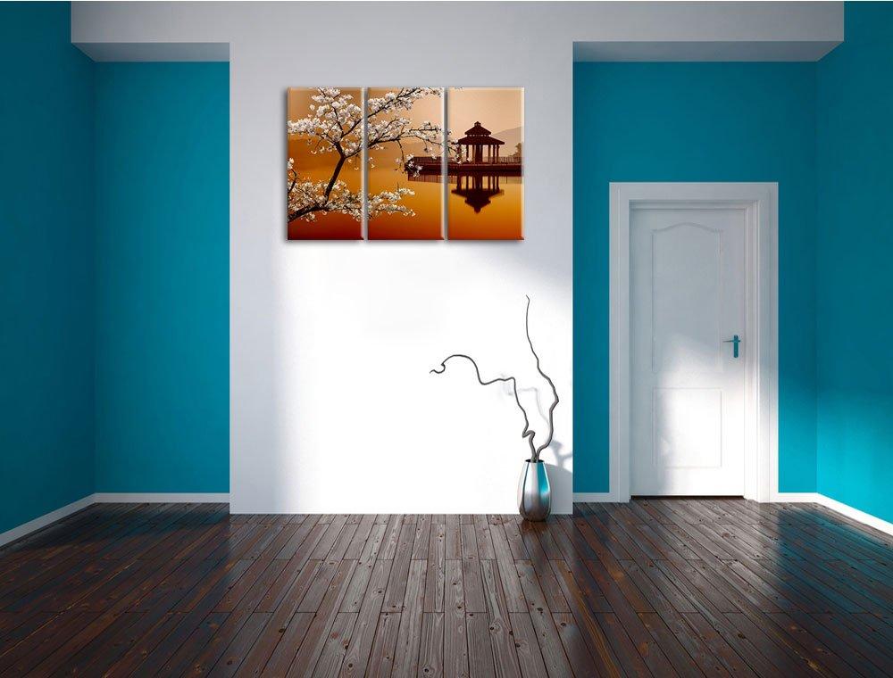 Kirschbaum an Japanischem See 3-Teiler Leinwandbild 120x80 Bild auf ...