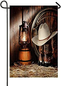 Dimanzo Silinana Western Set West Rodeo Cowboy Boots and Hat Sweet Home Home Garden Flag Spring Summer Yard Outdoor Decorative