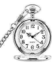 BestFire Orologio Quarzo da Tasca Uomo numeri arabi con confezione regalo catena