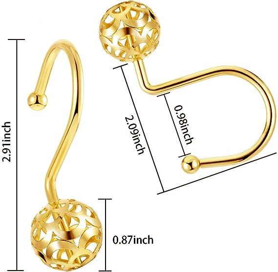 CHICTIE Duschvorhangringe mit hohlem Kugel-Design 12 St/ück f/ür Badezimmer 100 /% rostfrei goldfarben