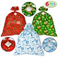 """6 Pieces Christmas Giant Goody Gift Bags, Jumbo Size 43"""" X 36"""", W/Tie & Name Card Assortment for Holiday Treats, Oversize Xmas Gifts, Heavy Duty Party Favor Supplies, Christmas Goodie Large Bags"""
