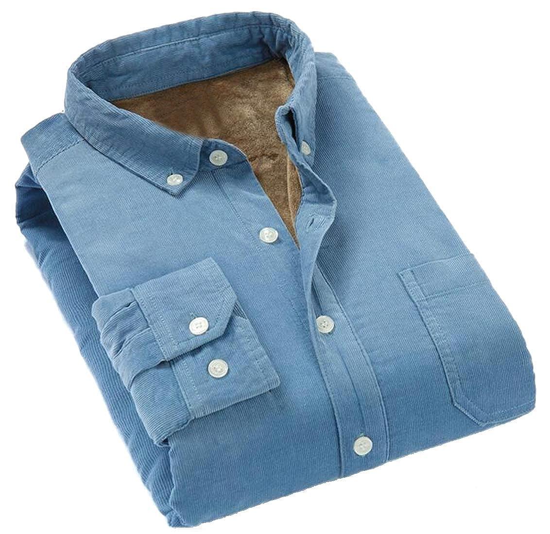 ARTFFEL Mens Fall /& Winter Button Up Warm Cotton Corduroy Fleece Casual Dress Shirts