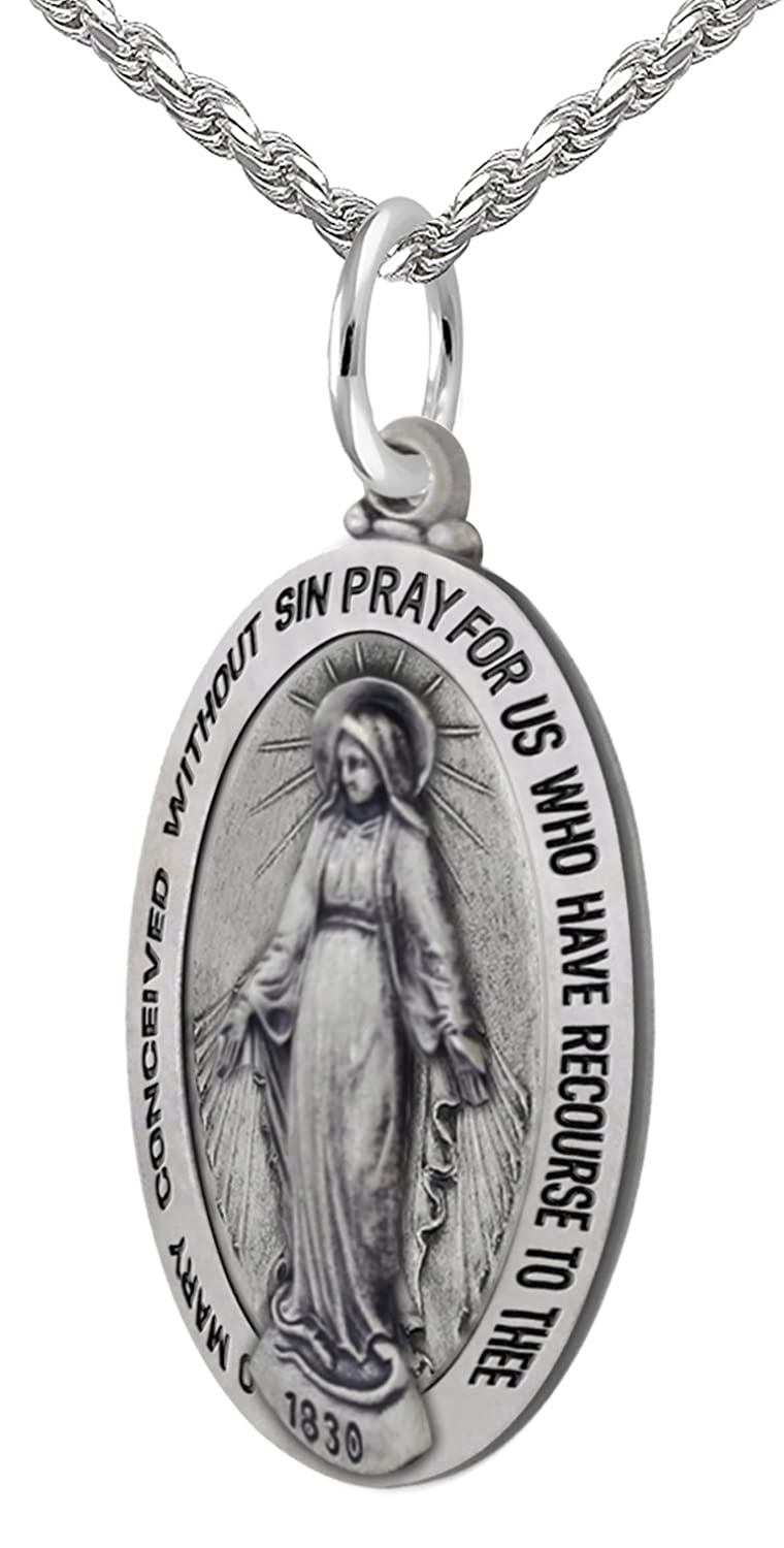 "New 0.925 Sterling Silver 0.8"" Oval Miraculous Virgin Mary Antique Finish Pendant Necklace, 18"" to 24"""