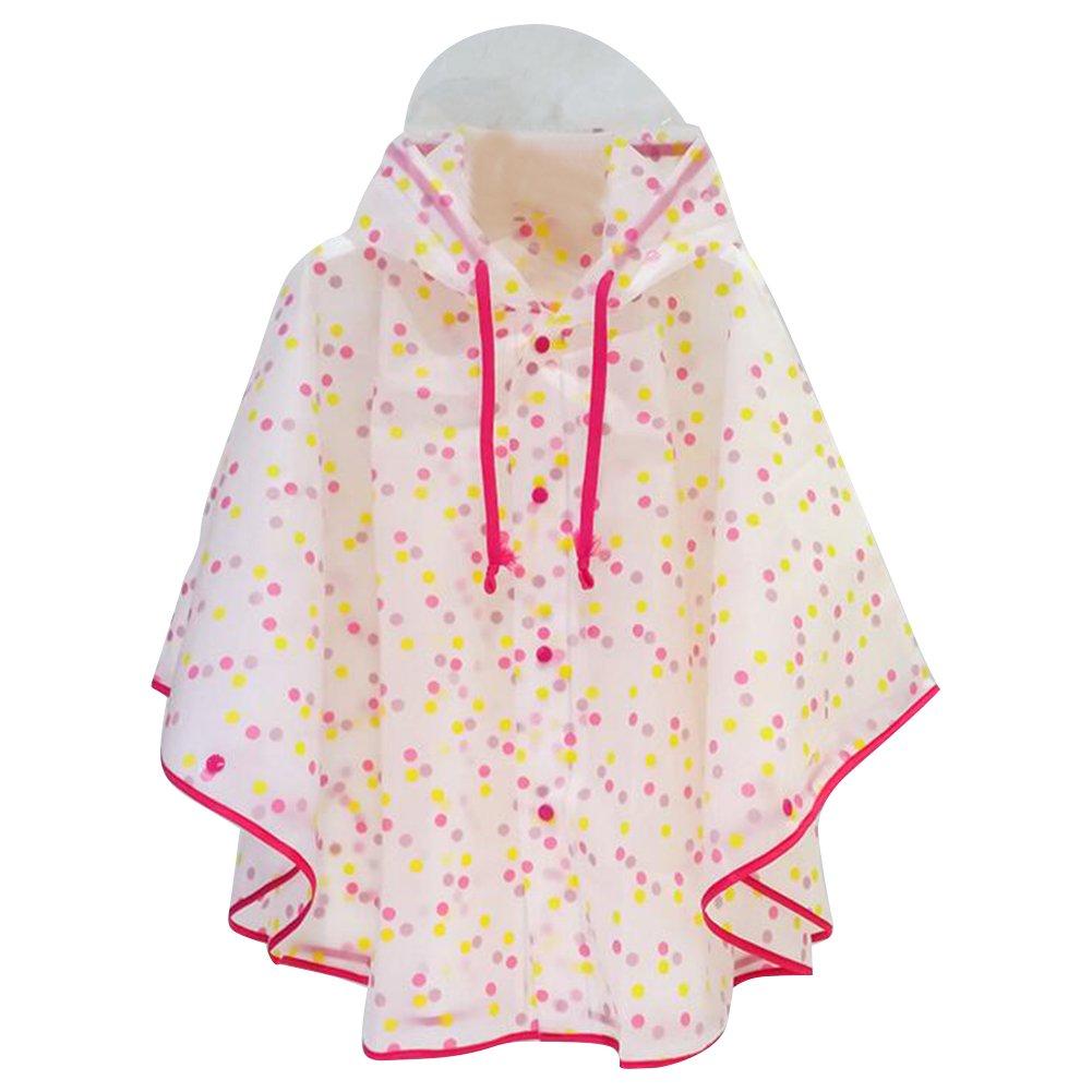 Gagacity Poncho antipioggia per bambini con cappuccio. Materiali di protezione ambientale EVA. Impermeabile da montagna per ragazze 80-140cm