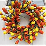 Spring Sun Rise Orange and Yellow Silk Tulip Floral Wreath for Front Door Comes With Door Wreath Hanger Interior Summer Decor