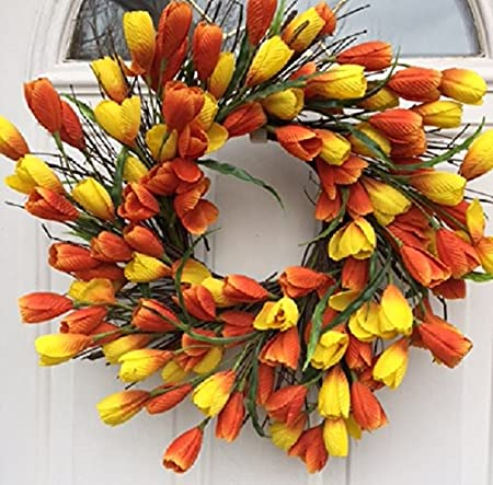 Spring Sun Rise Orange And Yellow Silk Tulip Floral Wreath For A
