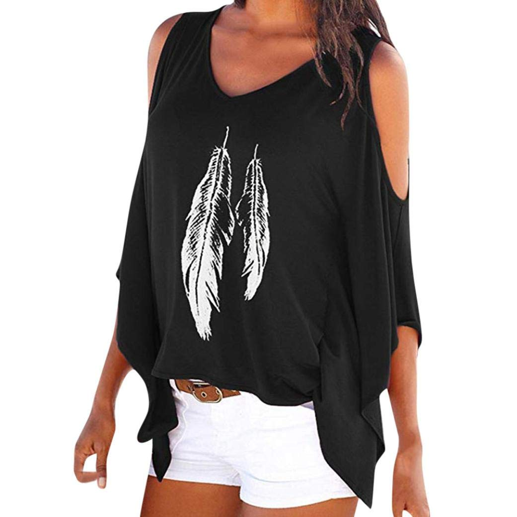 Rambling New Women's Cold Shoulder Tops Feather Print Oversized Batwing Short Sleeve T Shirts