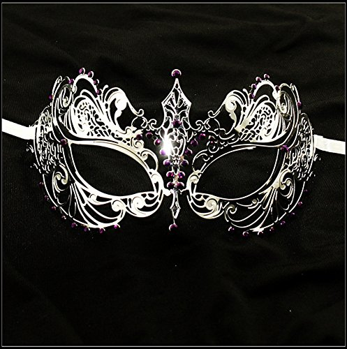Luxury Mask Women's Laser Cut Metal Venetian Pretty Masquerade Mask, Silver/Purple Stones, One (Burlesque Party Costumes)