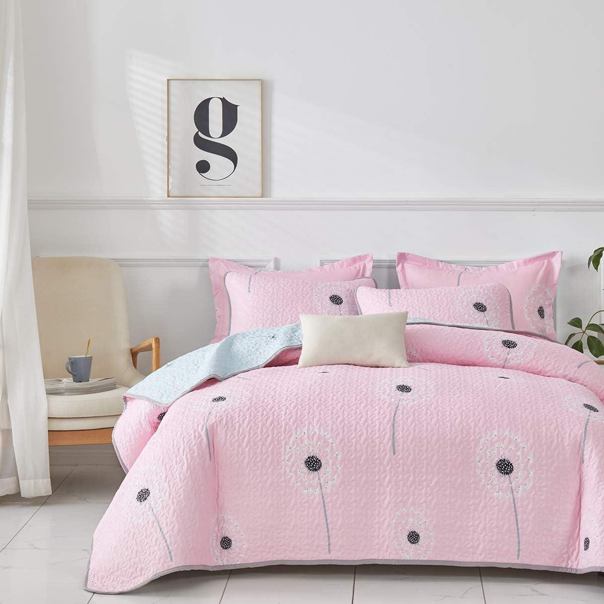 Uozzi Bedding 2 Piece Reversible Pink Dandelion Twin Quilt Set Cute Style Soft Microfiber Lightweight Women Girls Twin Summer Coverlet Bedspread for All Season