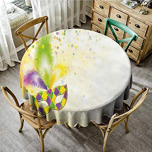 DONEECKL Easy Care Tablecloth Mardi Gras Festival Mask with Decorative Feathers Colorful Dots Confetti Party Party D63 Yellow Green Purple -