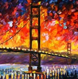 GOLDEN GATE BRIDGE is a massive ONE-OF-A-KIND, ORIGINAL hand painted oil painting on Canvas by Leonid AFREMOV Picture