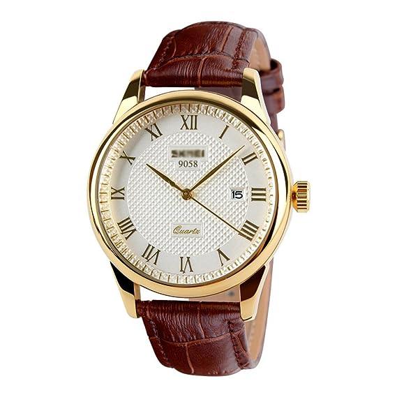 Reloj de cuarzo de cuero clásico negocio, Multifuncional Impermeable Relojes, Unisex Calendario Relojes-B: Amazon.es: Relojes