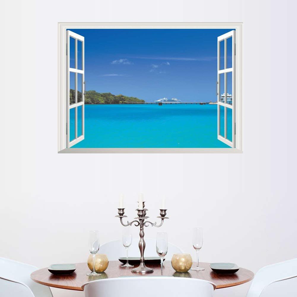 BIBITIME Hawaii Style Sea View Fake Window Wall Decal Island Cruise Ship Vinyl Sticker for Travel Agency Living Room Couple Bedroom Kids Room Decor Art Mural
