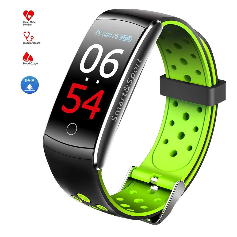 JIHUIA HD Schermo Fitness Tracker, attività con Pedometro Impermeabile Nuoto Frequenza cardiaca Pressione sanguigna Monitor Dormire Tenere sotto Controllo Inteligente orologio, per iOS androide,verde