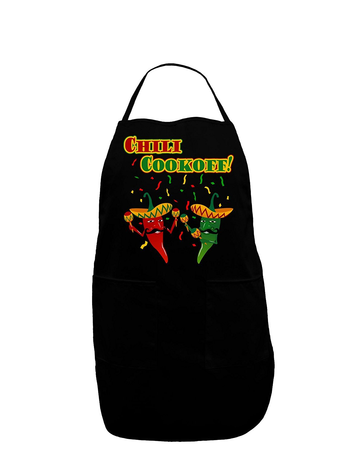TooLoud Chili Cookoff Champ! Chile Peppers Dark Adult Apron (PLUS SIZE, Black) by TooLoud