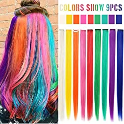 MQ 9PCS Rainbow Hair doll Accessories Clip In/On Color extensions For Amercian Girls And Dolls Wig Pieces Colored Hair pieces (Rainbow Color)