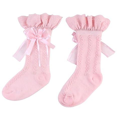 AOLVO - Calcetines para bebés y niñas, 2 Pares de Calcetines Antideslizantes de algodón para