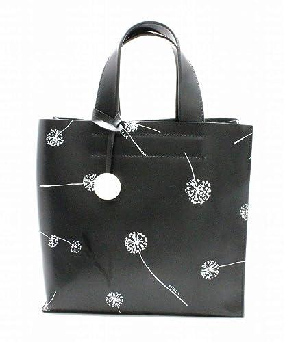 9348d34949bd [フルラ] FURLA ハンドバッグ トートバッグ 花柄 タンポポ チャーム レザー 黒 ブラック ホワイト 白