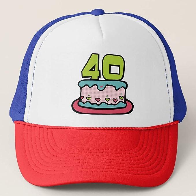 Zazzle 40 Year Old Birthday Cake Red White Blue Adjustable Trucker Hat