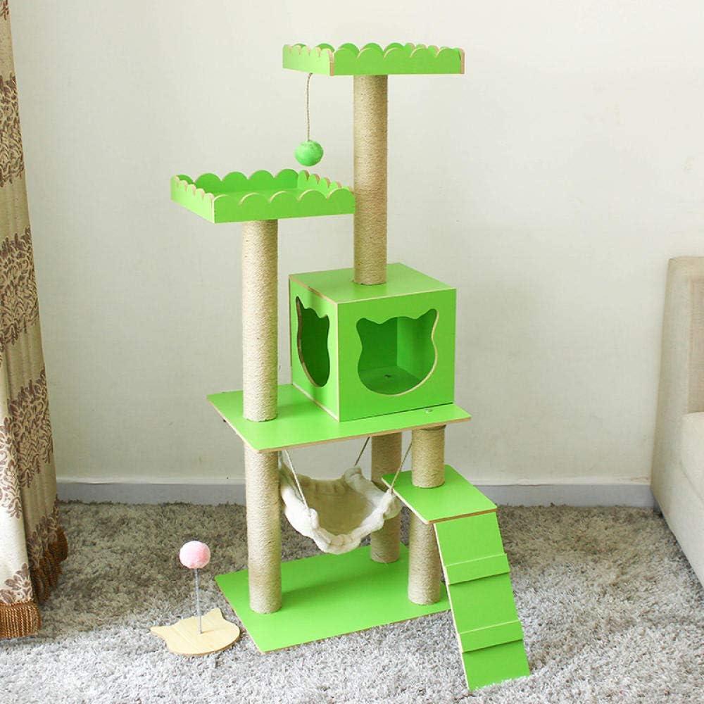 gengxinxin para Gatos con Árbol para Gatos Nido De Gato De Madera Gato Sisal Grande Rascador para Gatos Plataforma De Salto para Gatos Árbol De Gato Juguete para Mascotas Gato-Loro Verde Más Encaje
