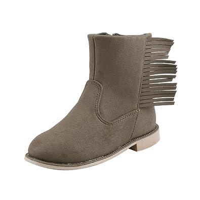 Western Fringe Girls Ankle Boots Moccasins Booties Toddler - Little Girl (2, Dark Brown