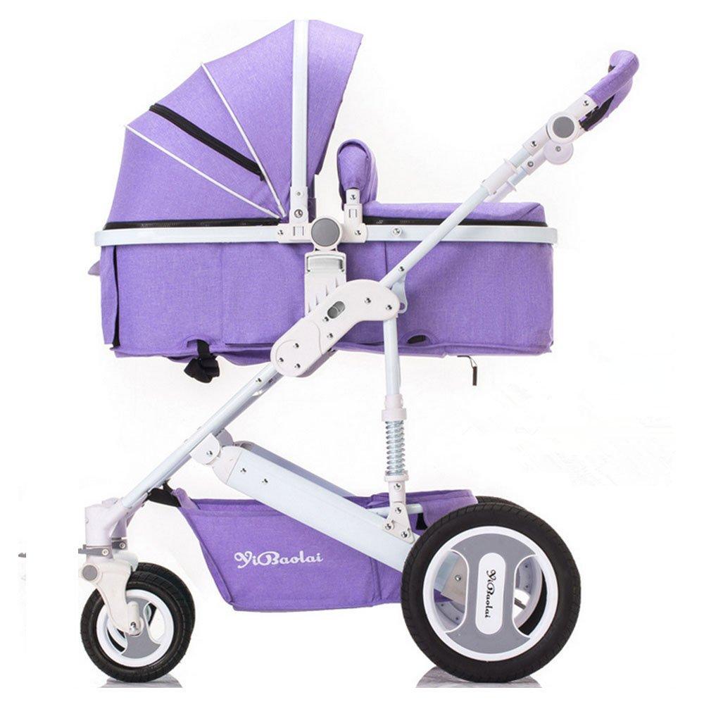 YBL High landscape baby stroller Can sit and lie down Folding suspension Two-way implementation The choice of city Four rounds Baby carriage Suitable for 0-3 year old baby (purple) by YBL (Image #1)