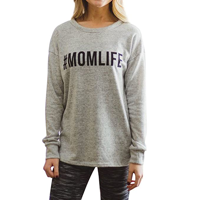 12d831e086a Image Unavailable. Image not available for. Color  Ezcosplay Women s Long Sleeve  MOM Life Print Casual Graphic Tee T-Shirt ...