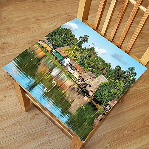 Nalahome Set of 2 Waterproof Cozy Seat Protector Cushion Lake House Decor Collection Tropical Amazonian Riverside Village Huts Palm Trees Sunny Day Clouds Bird Rainforest Mult Printing Size - Sunglass Huts