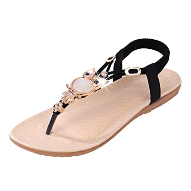 29207124a94ce Footful Women Summer Bohemia Flat Sandals Beach Thong Shoes Black 36   Amazon.in  Shoes   Handbags
