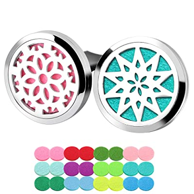 ttstar 2pcs Aromatherapy Essential Oil Car Diffuser Locket Vent Clips with 24 Refill Pads: Health & Personal Care