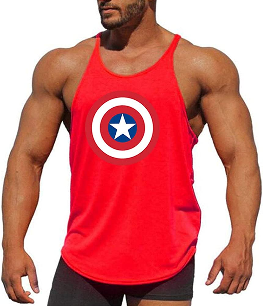 EVERDESIGN Mens Workout Tank Top Bodybuilding Fitness Sweat Muscle Gym Vest Y-Back Shirts